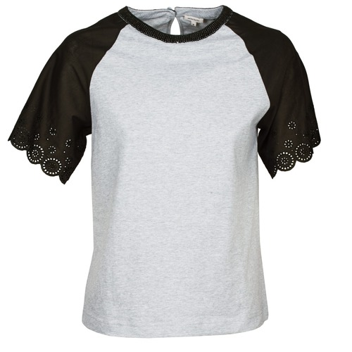 Clothing Women short-sleeved t-shirts Manoush FANCY Grey / Black