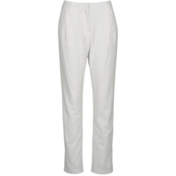 Clothing Women 5-pocket trousers Manoush FLOWER BADGE White