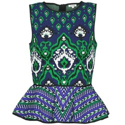 Clothing Women Tops / Sleeveless T-shirts Manoush JACQUARD OOTOMAN Blue / Black / Green