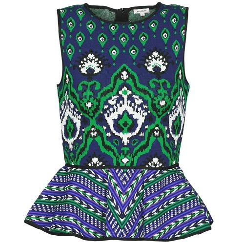 Clothing Women Tops / Sleeveless T-shirts Manoush JACQUARD OOTOMAN Blue / Black / Green