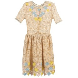 Clothing Women Short Dresses Manoush ROSES Ecru