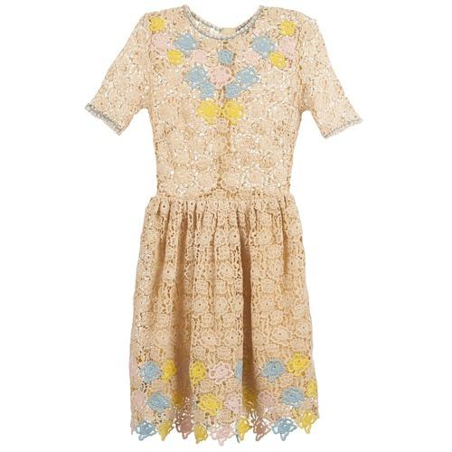 Clothing Women Short Dresses Manoush ROSES Ecru