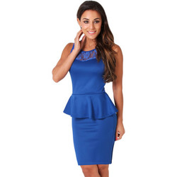 Clothing Women Short Dresses Krisp Beautiful Elasticated Mini Dress With Peplum Blue
