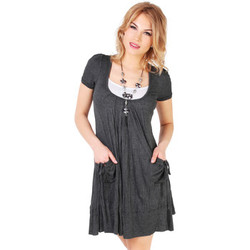 Clothing Women Short Dresses Krisp 2 in 1 Crinkled Tunic Grey