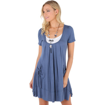 Clothing Women Short Dresses Krisp Jersey Tunic Dress Blue