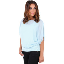 Clothing Women Tops / Blouses Krisp Summer Tee Sheer Layer Loose Oversized Fit 3559 {Aqua} Blue