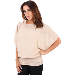 Clothing Women Tops / Blouses Krisp Summer Tee Sheer Layer Loose Oversized Fit 3559 {Stone} Beige