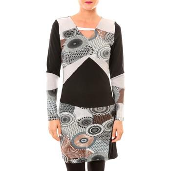 Clothing Women Short Dresses Bamboo's Fashion Robe Cercle BW613 gris Grey