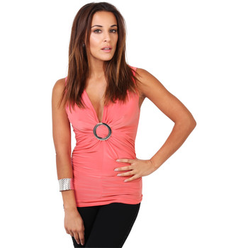 Clothing Women Tops / Sleeveless T-shirts Krisp Buckle Font Ruched Top {Coral} Pink