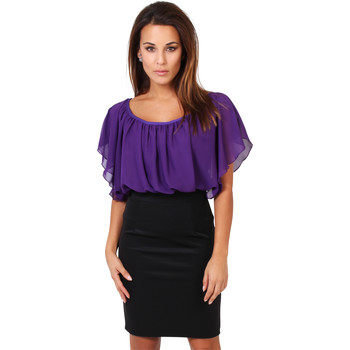 Clothing Women Short Dresses Krisp Contrast Ponte Dress {Purple} Purple