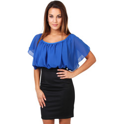 Clothing Women Short Dresses Krisp Contrast Ponte Dress Blue