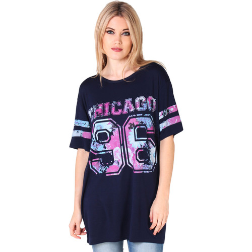 Clothing Women short-sleeved t-shirts Krisp Oversized Baseball T-shirt {Navy} Blue