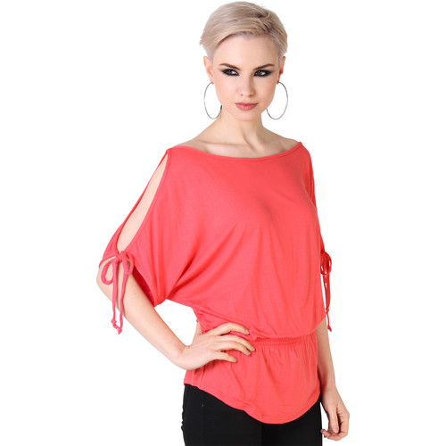 Clothing Women short-sleeved t-shirts Krisp Split Sleeve Kimono Jersey Tunic Top {Coral} Pink
