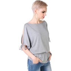 Clothing Women Tops / Blouses Krisp Split Sleeve Kimono Jersey Tunic Top {Grey} Grey