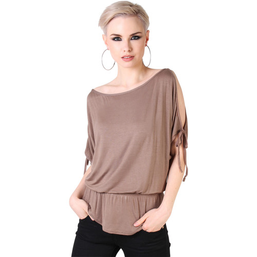 Clothing Women short-sleeved t-shirts Krisp Split Sleeve Kimono Jersey Tunic Top {Mocha} Brown