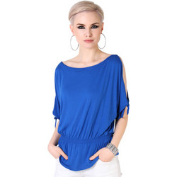 Clothing Women Tops / Blouses Krisp Split Sleeve Kimono Jersey Tunic Top {Royal Blue} Blue