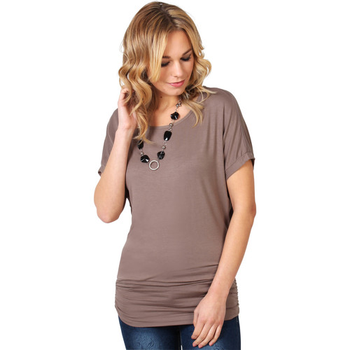 Clothing Women short-sleeved t-shirts Krisp Oversized Zip Front Tunic {Mocha} Brown