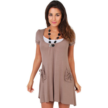Clothing Women Short Dresses Krisp 2 in 1 Jersey Tunic Dress Brown