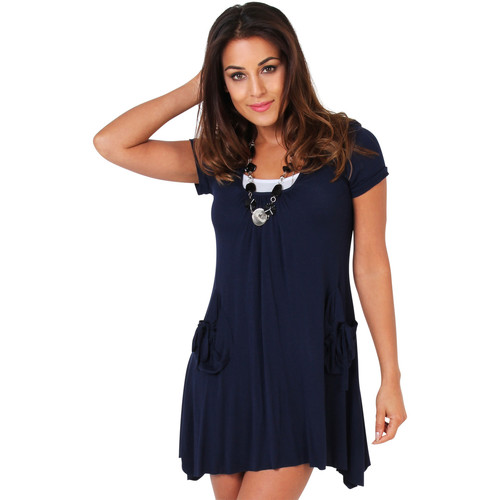 Clothing Women Short Dresses Krisp 2 in 1 Jersey Tunic Dress {Navy} Blue
