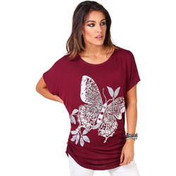 Clothing Women short-sleeved t-shirts Krisp Butterfly Sequin Print T-shirt Red
