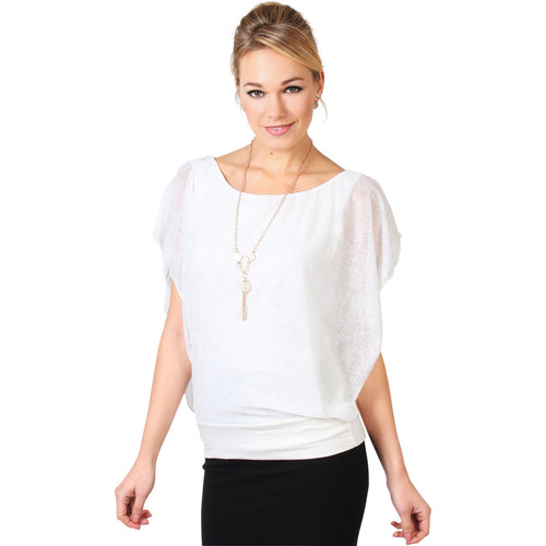 Clothing Women Tops / Blouses Krisp Slub Chiffon Dolman Top {Cream} White