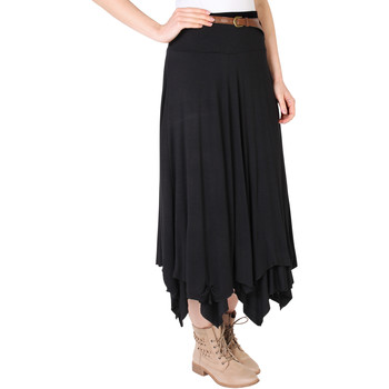 Clothing Women Skirts Krisp Hitched Up Belted Maxi Skirt Black