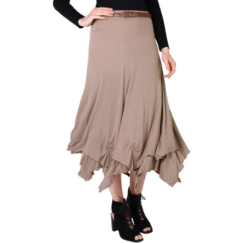 Clothing Women Skirts Krisp Hitched Up Belted Maxi Skirt {Mocha} Brown