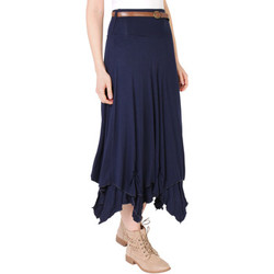 Clothing Women Skirts Krisp Hitched Up Belted Maxi Skirt {Navy} Blue
