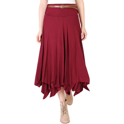 Clothing Women Skirts Krisp Hitched Up Belted Maxi Skirt {Wine} Red