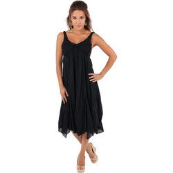 Clothing Women Long Dresses Krisp Crochet Front A-line Crepe Dress {Black} Black