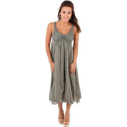 Clothing Women Long Dresses Krisp Crochet Front A-line Crepe Dress {Khaki} Green
