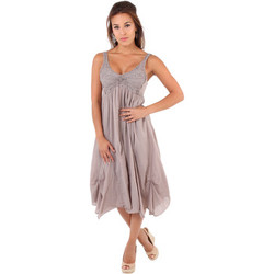 Clothing Women Long Dresses Krisp Crochet Front A-line Crepe Dress {Mocha} Brown