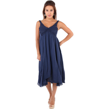 Clothing Women Long Dresses Krisp Crochet Front A-line Crepe Dress {Navy} Blue
