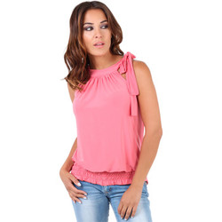 Clothing Women Tops / Sleeveless T-shirts Krisp Tie up halterneck elastic hem top{Coral} Pink