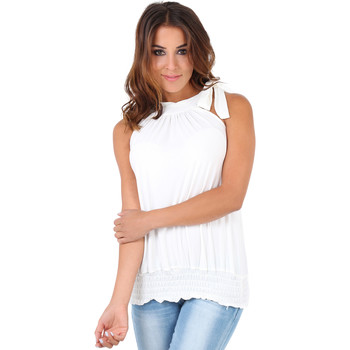 Clothing Women Tops / Sleeveless T-shirts Krisp Tie up halterneck elastic hem top White