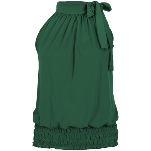Clothing Women Tops / Sleeveless T-shirts Krisp Tie up halterneck elastic hem top{Jade} Green