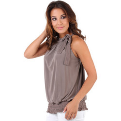 Clothing Women Tops / Sleeveless T-shirts Krisp Tie up halterneck elastic hem top Brown