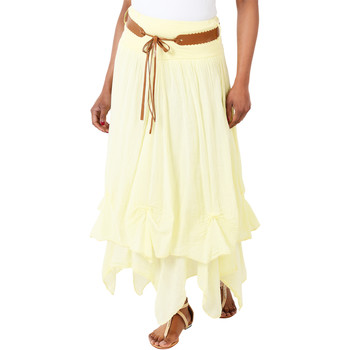 Clothing Women Skirts Krisp Hitched Up Belted Maxi Skirt Yellow