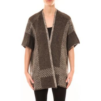 Clothing Women Jackets / Cardigans De Fil En Aiguille Poncho Elina Marron Brown