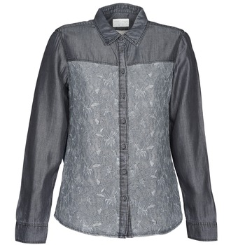 Clothing Women Shirts Esprit Denim Blouse Grey