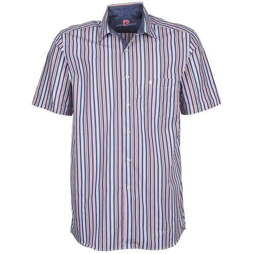Clothing Men short-sleeved shirts Pierre Cardin 514636216-184 Blue / Pink