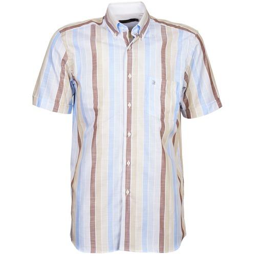 Clothing Men short-sleeved shirts Pierre Cardin 539936240-130 Blue / Beige / Brown