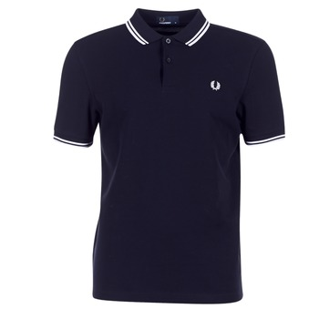 Clothing Men short-sleeved polo shirts Fred Perry SLIM FIT TWIN TIPPED Marine / White