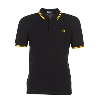 Clothing Men Short-sleeved polo shirts Fred Perry SLIM FIT TWIN TIPPED Black / Yellow