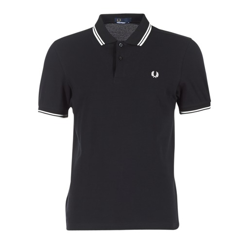 Clothing Men short-sleeved polo shirts Fred Perry SLIM FIT TWIN TIPPED Black / White