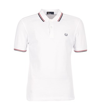 Clothing Men short-sleeved polo shirts Fred Perry SLIM FIT TWIN TIPPED White / Red