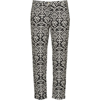 Clothing Women Wide leg / Harem trousers Freeman T.Porter PARADISE AFRICAN COT. BLACK INK Black / White