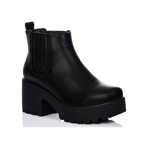 Shoes Women Ankle boots Spylovebuy HOWL Platform Cleated Sole Block Heel Ankle Boots Shoes - Black Black