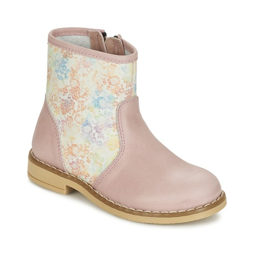 Shoes Girl Mid boots Citrouille et Compagnie OUGAMO LIBERTY Pink / Flowercolor
