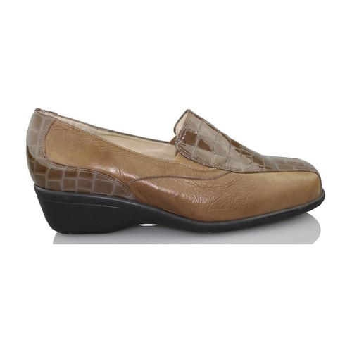 Shoes Women Loafers Sana Pies HEALTHY FEET comfortable patent leather loafers BROWN